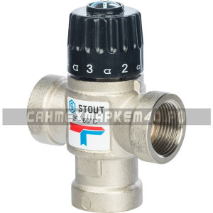 """STOUT Термостатический смесительный клапан для систем отопления и ГВС 3/4"""" ВР 35-60°С KV 1,6"""